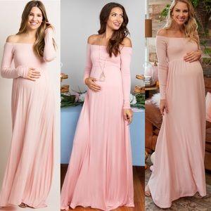 PinkBlush Pink Off Shoulder Maternity Maxi Dress